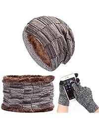 Winter Hüte Warm Schal Touchscreen Handschuhe Set Für Männer Frauen Strickmütze Schal Skullies Beanies Wintermütze