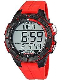 Calypso Herrenarmbanduhr Quarzuhr Kunststoffuhr Alarm-Chronograph digital alle Modelle K5607, Calypso Artikelnummer:K5607/5 Rot