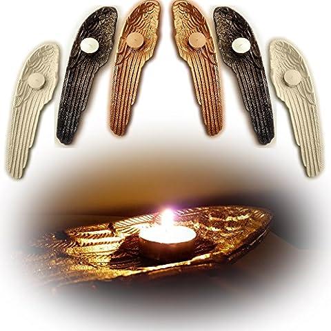 Gran ángel de la guarda Ala vela portavelas adorno, negro