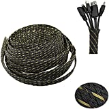 PET Expandable Braided Sleeve Blackyellow Cable Management Sheath For Home Office Wire Organizer 25ft-1/3''