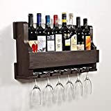 Cizen Wooden Wall Hanging Design Bar   Bar Cabinets for Home   Mini Bar for Home   Solid Wood Make Wine Storage Cabinet with Glass Hanging Space-Walnut Finish