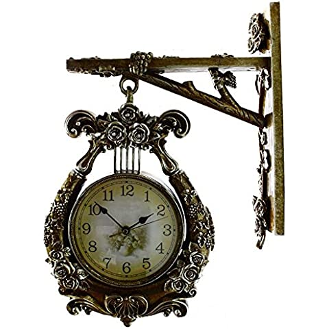 YUENLONG Resina europea tranquila sala relojes pared reloj Tan,Bronce