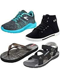 Super Men Combo Pack Of 4 Sports Shoes With Casual Shoes & Slippers With Sandal