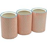 Pots à ustensiles de cuisine ornés de motifs - en porcelaine - imprimé orange - lot de 3