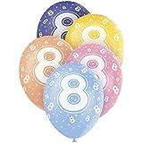 Unique Party - Globos Perlados de Látex para Cumpleaños Número 8, Paquete de 5, 30 cm (80208)