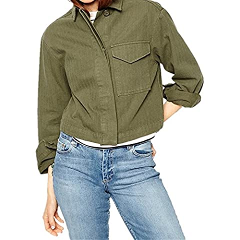 Militare Camicia Shirt Giacca Cropped Crop Corti Corto Superiore Top con Abbottonatura Bottoni sul davanti Colletto Tasca Army Verde
