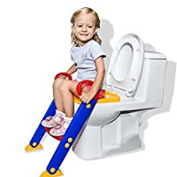 مقعد مرحاض على شكل سلم للاطفال من فيلكرو، مقعد لتدريب الاطفال على استخدام المرحاض مع سلم - قد يختلف اللون