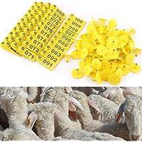 HEEPDD 100 Unids/Set Etiquetas de Oído, Plástico Ganado Número de Oído Etiqueta Accesorios de Animales de Granja para Ovejas Cabra Cerdo Ganado Vacuno Vacuno