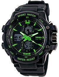 Reloj doble / deportes al aire libre de los hombres / reloj electrónico impermeable de la montaña / reloj multi-función del salto , small green