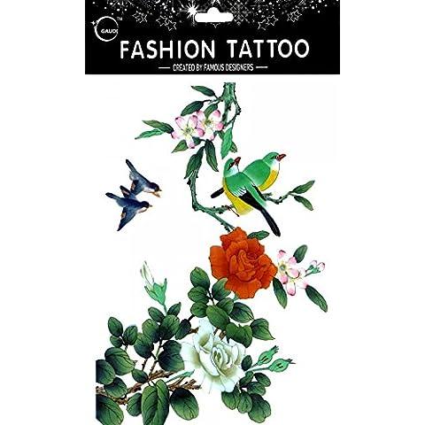 GGSELL GGSELL impermeable y no Tóxico temporal tatuajes gran diseño Orioles verde con flores de cristal temporal tatuajes Mujer para el pecho, Ombligo, Espalda, Piernas,