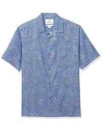 Marca Amazon - 28 Palms - Camisa de tejido jacquard fabricada 100 % con seda texturizada y de corte holgado para hombre, diseño de hojas tropicales