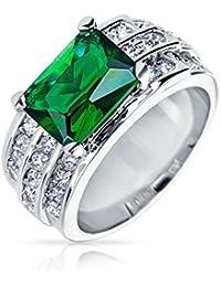Bling Jewelry CZ talla esmeralda de cuatro patillas simulado Anillo Verde Esmeralda chapados en rodio con grabado
