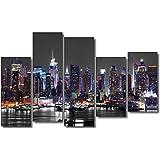 DekoArte 34 - Cuadro moderno New York Skyline Manhattan, lienzo de 5 piezas, 150 x 100 cm, fondo de color gris