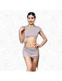 Pentole e padelle DESY Danza del Ventre Abiti per Donna Addestramento Modal Spacco Frontale 1 Pezzo Maniche Corte Naturale VestitiSuitable Green