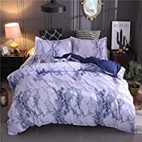 Duvet Cover Set Double Size Black & White Marble Pattern 3 Pieces (1 Duvet Cover with Zipper Closure + 2 Pillow Shams) Super Soft Hypoallergenic Microfiber Quilt Cover Bedding Set (Blue,200 * 200)