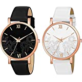 The Shopoholic Analogue Girls & Women's Watch (Black & White Dial Black & White Colored Strap) (Pack of 2)