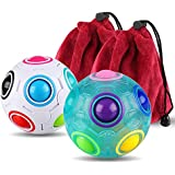 Coogam Magic Rainbow Ball with Pouch 3D Cube Puzzle Brain Teaser Fidget Toy for Kids Adults