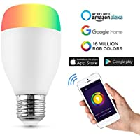Ampoule Couleur,Horsky Smart Ampoule WIFI Lampe Intelligente Ampoule Multicolore Dimmable Ampoule Télécommande RGB Lampe E27 Telecommande LED Lumiere WIFI Compatible Amazon Elexa Echo Google Home (Wifi Lampe led RGB E27)