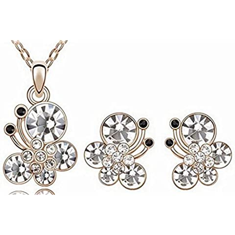 SaySure – Bañados en oro 18 K Crystal Trendy Crystal Jewelry Sets Gold White