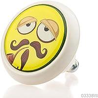 Premium Mobili Pomello Manopola Ceramica 03338W BrK-Bianca-094 Grandpa Smiley per i bambini, ragazzi e adulti (Grandpas Ragazza)