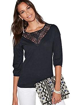 VENCA Camiseta Pieza en v de blonda Semitransparente en el Pecho by Vencastyle