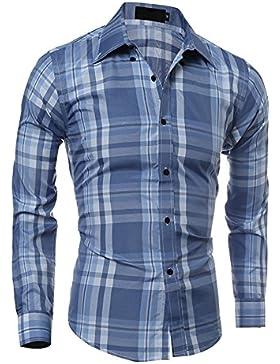 Camisa de manga larga casual para hombre - Camisas a cuadros Camisa de algodón Camisa básica de corte slim Abajo...