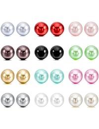 MunkiMix 4~10mm 24 Pièce Acier Inoxydable Résine Clou d`oreille Boucle d'Oreille Ton d'Argent Noir Rouge Rose Vert Brun Jaune Blanc Multicoloré Coloré Série ( 12 Pair Paire )