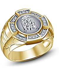 Vorra Fashion nuevo diseño Creado especialmente para hombre 14 K chapado en oro Redondo Blanco Cut