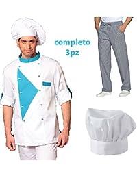 Uniforme completo con chaqueta, pantalón y gorro para chef o cocinero: 3 piezas de algodón fabricadas en Italia, Small