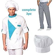 Completo Chef Cuoco 3pz Offerta Giacca Pantalone Cappello Cotone Made in  Italy 5f18fdb7ceb5