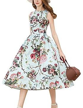Mena UK L'annata degli anni '50 degli anni '60 delle donne ha stampato il vestito sottile dal grande pendente...