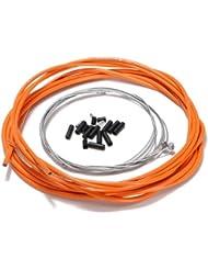 TOOGOO(R)De velo complet avant et arriere interieure fil externe engrenage cable de frein Set - Orange