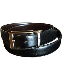 Perry Ellis Men's Reversible Leather Black Brown Dress Belt 38