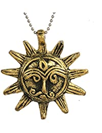 DzineTrendz Antique Gold finish Sun God design ancient Harappan era inspired Fashion pendant necklace for Men and women Yellow Gold Brass Pendant