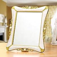 Ad alta definizione Specchio Desktop trucco dello specchio, pieghevole in stile europeo specchio, Grande Picture Single-sided Mirror Frame ( colore : A )