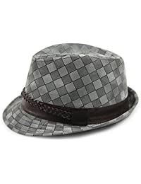 LOCOMO Checker Brushed PU Leather Fedora Short Upturn Brim Hat FFH248BLK