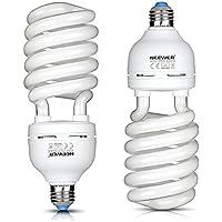 Neewer® 45W 220V 5500K tri-fosforo spirale bulbo fluorescente compatto CFL luce naturale equilibrata lampadina con montatura E27per foto e video studio di illuminazione (2pezzi) - Video Balanced