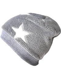 WOLLHUHN Warme Beanie-Mütze / Babymütze grau mit weißen Sternen, Wellnessfleece, für Jungen und Mädchen, 20160902