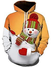 ¡¡¡Caliente!!! LILICAT☃ ?? Rojo Verde Negro M-5L Hombre 3D Impreso de Navidad Jersey de Manga Larga con Capucha Tops Blusa