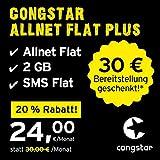 congstar Allnet Flat Plus [SIM, Micro-SIM und Nano-SIM] monatlich kündbar (24,00 Euro/Monat, 2 GB Datenflat mit max. 21 Mbit/s, Allnet Flat in alle dt. Netze) in bester D-Netz-Qualität preiswert