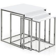 Vida Designs Aztec Nest of Tables, White Gloss Square Chrome Modern Living Room Furniture, Wood