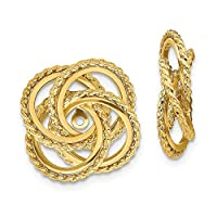 14ct Yellow Gold Textured Polished and Twisted Fancy Earrings Jackets Jewelry Gifts for Women