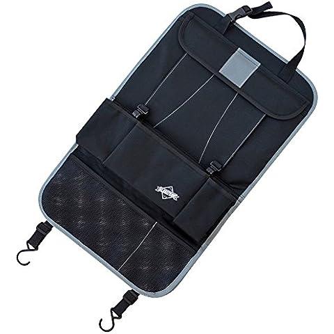 Organizador de asiento negro – Ideal como un protector de asientos para viajes de invierno o como protector trasero de asiento para niños – Con un bolsillo para un iPad/ Tablet – Apropiado para todos los modelos de autos – de