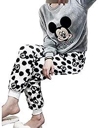 Pyjama Polaire Femme Chemise de Nuit Chaud Ensemble Manches Longues Col Rond