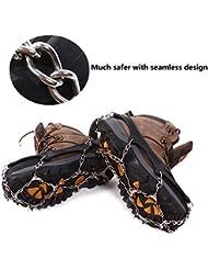 Crampones,12 Dientes de Acero Inoxidable Crampones,Antideslizante Hielo Nieve Tracción Para Botas de Tacos Seguro Proteger Zapatos Botas