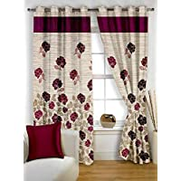 Story at Home 350 GSM Polyester 1 Pieces Window Curtain, Maroon, 118 cm x 152 cm, WBR4015