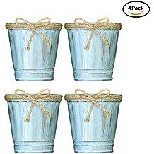 cubo de cubo de hierro pequeño con decorativo bowknot bowknot mini contenedor de metal flower pot balcón vintage jardín de jardinero lápiz rústico titular de lápiz decoración del hogar - azul natural