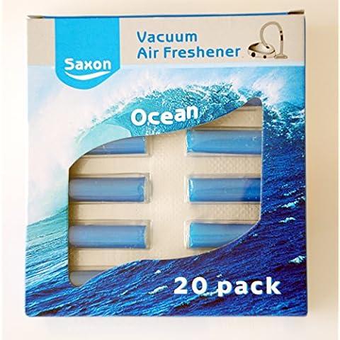Saxon® - 20 BLUE OCEAN - Perfume Aroma fresco - aspirador de Hoover Bolsa de polvo Olor Ambientador palos, palos Scent Aspirador; Se adapta a todas las aspiradoras bolsas, puede ser utilizado en la papelera de cocina, ideal para hogares con