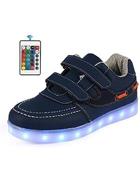 AFFINEST Bambini Scarpe 7 Colori LED Scarpe Sneaker Carica USB Lampeggiante Moda Sneakers con Telecomando
