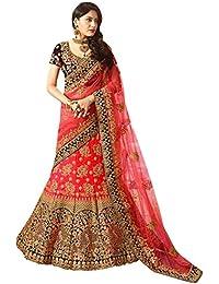Swara Fashion Women's Banglori Silk With Blouse Piece Lehenga Choli(SFA-1659-B_Red, Purple)